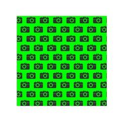 Modern Chic Vector Camera Illustration Pattern Small Satin Scarf (Square)