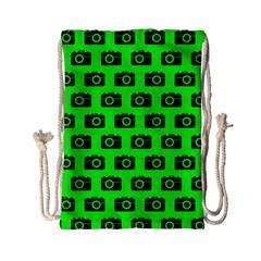 Modern Chic Vector Camera Illustration Pattern Drawstring Bag (Small)