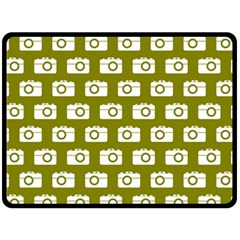 Modern Chic Vector Camera Illustration Pattern Double Sided Fleece Blanket (Large)