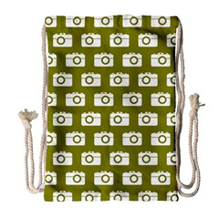 Modern Chic Vector Camera Illustration Pattern Drawstring Bag (large)