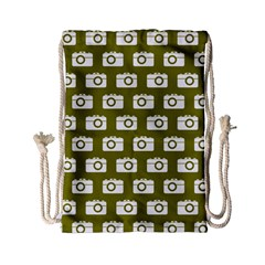 Modern Chic Vector Camera Illustration Pattern Drawstring Bag (Small)
