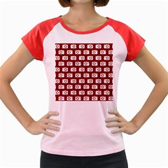 Modern Chic Vector Camera Illustration Pattern Women s Cap Sleeve T Shirt