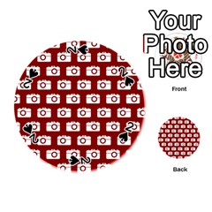 Modern Chic Vector Camera Illustration Pattern Playing Cards 54 (round)