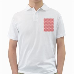 Coral Pink Gerbera Daisy Vector Tile Pattern Golf Shirts