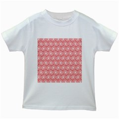 Coral Pink Gerbera Daisy Vector Tile Pattern Kids White T Shirts
