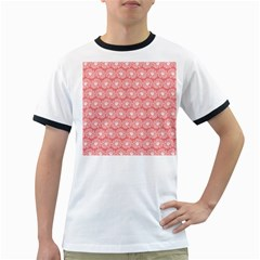 Coral Pink Gerbera Daisy Vector Tile Pattern Ringer T Shirts