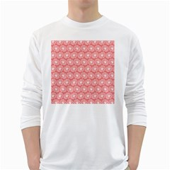 Coral Pink Gerbera Daisy Vector Tile Pattern White Long Sleeve T Shirts