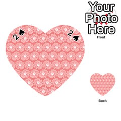 Coral Pink Gerbera Daisy Vector Tile Pattern Playing Cards 54 (Heart)