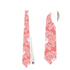 Coral Pink Gerbera Daisy Vector Tile Pattern Neckties (Two Side)
