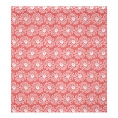 Coral Pink Gerbera Daisy Vector Tile Pattern Shower Curtain 66  x 72  (Large)