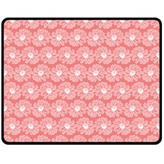 Coral Pink Gerbera Daisy Vector Tile Pattern Fleece Blanket (Medium)