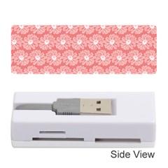 Coral Pink Gerbera Daisy Vector Tile Pattern Memory Card Reader (Stick)