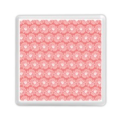 Coral Pink Gerbera Daisy Vector Tile Pattern Memory Card Reader (Square)