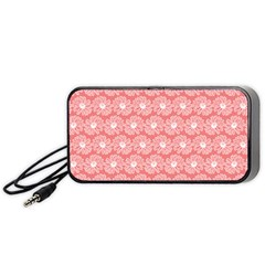 Coral Pink Gerbera Daisy Vector Tile Pattern Portable Speaker (Black)
