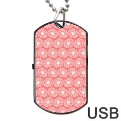 Coral Pink Gerbera Daisy Vector Tile Pattern Dog Tag USB Flash (One Side)