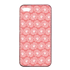 Coral Pink Gerbera Daisy Vector Tile Pattern Apple iPhone 4/4s Seamless Case (Black)