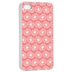 Coral Pink Gerbera Daisy Vector Tile Pattern Apple Iphone 4/4s Seamless Case (white)