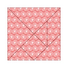 Coral Pink Gerbera Daisy Vector Tile Pattern Acrylic Tangram Puzzle (6  x 6 )
