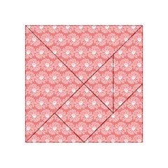 Coral Pink Gerbera Daisy Vector Tile Pattern Acrylic Tangram Puzzle (4  x 4 )