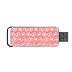 Coral Pink Gerbera Daisy Vector Tile Pattern Portable USB Flash (One Side)