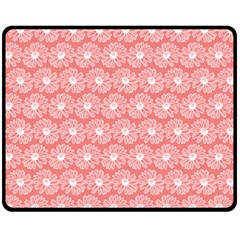 Coral Pink Gerbera Daisy Vector Tile Pattern Double Sided Fleece Blanket (medium)
