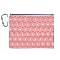 Coral Pink Gerbera Daisy Vector Tile Pattern Canvas Cosmetic Bag (xl)
