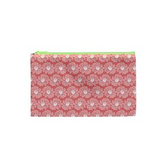Coral Pink Gerbera Daisy Vector Tile Pattern Cosmetic Bag (xs)