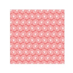 Coral Pink Gerbera Daisy Vector Tile Pattern Small Satin Scarf (Square)