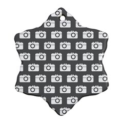 Modern Chic Vector Camera Illustration Pattern Snowflake Ornament (2 Side)