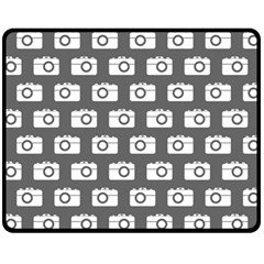 Modern Chic Vector Camera Illustration Pattern Double Sided Fleece Blanket (Medium)