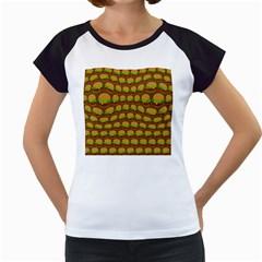 Burger Snadwich Food Tile Pattern Women s Cap Sleeve T