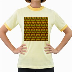 Burger Snadwich Food Tile Pattern Women s Fitted Ringer T Shirts