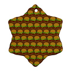 Burger Snadwich Food Tile Pattern Ornament (Snowflake)