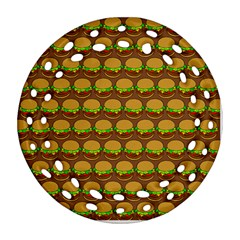 Burger Snadwich Food Tile Pattern Round Filigree Ornament (2side)
