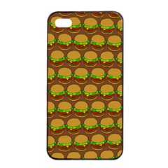 Burger Snadwich Food Tile Pattern Apple Iphone 4/4s Seamless Case (black)