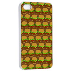 Burger Snadwich Food Tile Pattern Apple iPhone 4/4s Seamless Case (White)