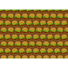 Burger Snadwich Food Tile Pattern Birthday Cake 3D Greeting Card (7x5)