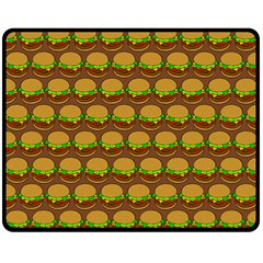 Burger Snadwich Food Tile Pattern Double Sided Fleece Blanket (Medium)