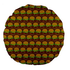 Burger Snadwich Food Tile Pattern Large 18  Premium Flano Round Cushions