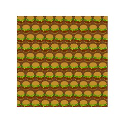 Burger Snadwich Food Tile Pattern Small Satin Scarf (Square)
