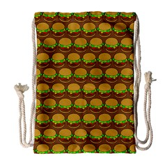 Burger Snadwich Food Tile Pattern Drawstring Bag (Large)