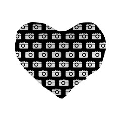 Modern Chic Vector Camera Illustration Pattern Standard 16  Premium Flano Heart Shape Cushions