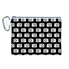 Modern Chic Vector Camera Illustration Pattern Canvas Cosmetic Bag (L)