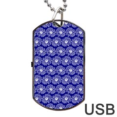 Gerbera Daisy Vector Tile Pattern Dog Tag USB Flash (One Side)