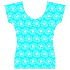 Gerbera Daisy Vector Tile Pattern Women s V-Neck Cap Sleeve Top