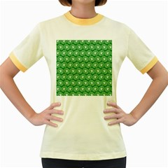 Gerbera Daisy Vector Tile Pattern Women s Fitted Ringer T Shirts