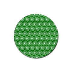 Gerbera Daisy Vector Tile Pattern Rubber Round Coaster (4 Pack)