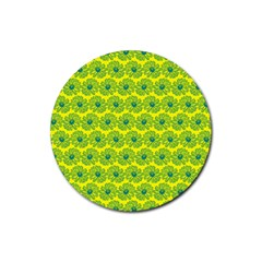 Gerbera Daisy Vector Tile Pattern Rubber Coaster (round)