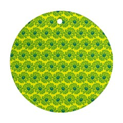 Gerbera Daisy Vector Tile Pattern Round Ornament (two Sides)