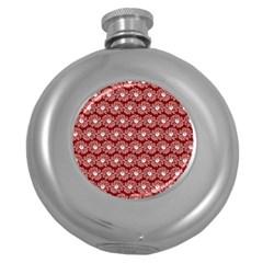Gerbera Daisy Vector Tile Pattern Round Hip Flask (5 Oz)